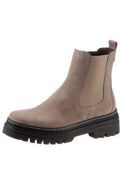 gabor chelsea-boots met contrast-doorstiknaad beige