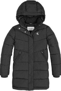 calvin klein winterjack relaxed long coat in lange mantelvorm zwart