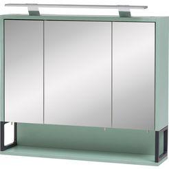 schildmeyer spiegelkast limoen breedte 70 cm, 3-deurs, ledverlichting, schakelaar-contactdoos, rekvak, glasplateaus, made in germany groen