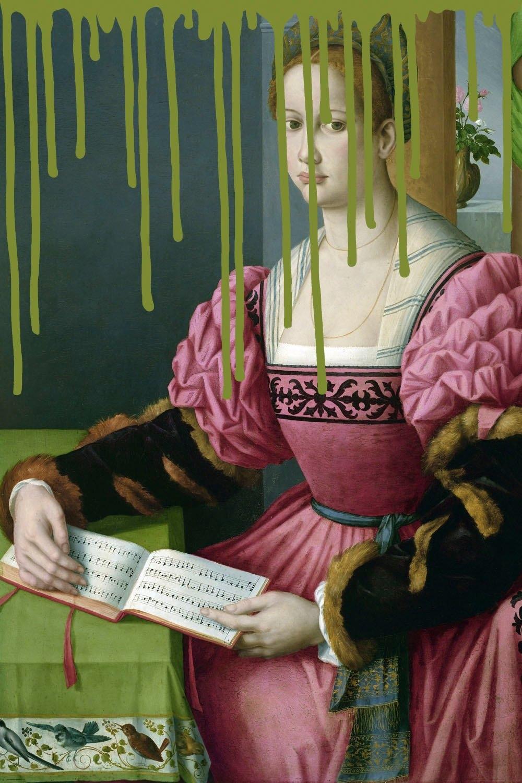 queence artprint op acrylglas Vrouw met boek voordelig en veilig online kopen