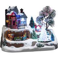 konstsmide kersthuisje station met kristallen kerstboom, animatie en 8 klassieke kerstliederen multicolor