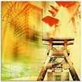 artland print op glas essen skyline abstracte collage (1 stuk) geel