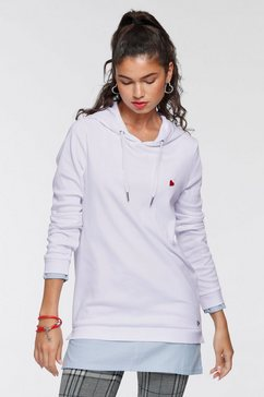 ajc hoodie met trendy chambray-inzet  borduursel - nieuwe collectie wit