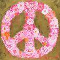 queence artprint op linnen »peace flower« roze