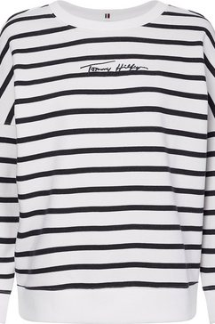 tommy hilfiger sweatshirt »oversized script open-nk ls« wit