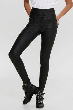 only imitatieleren broek onlcoral corsage rock coated zwart