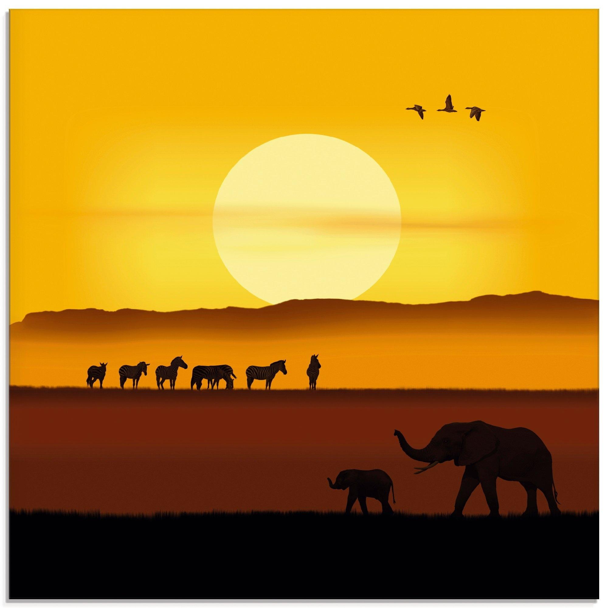 Artland print op glas Een morgen in de Afrikaanse savanne (1 stuk) in de webshop van OTTO kopen