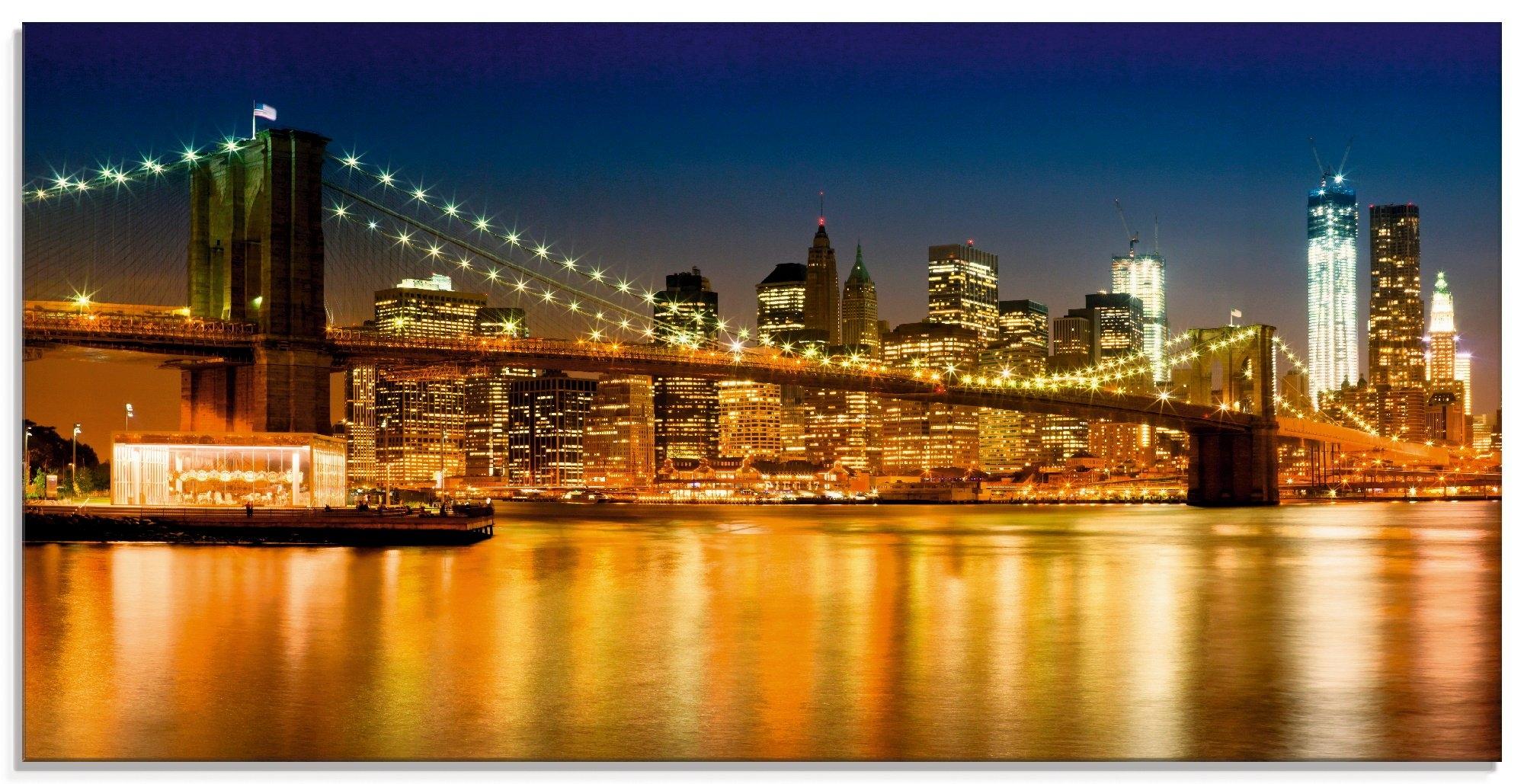 Artland print op glas Nachtelijke skyline Manhattan (1 stuk) nu online kopen bij OTTO