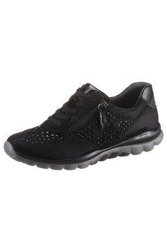 gabor rollingsoft sneakers met sleehak met doelmatige rits aan de buitenkant zwart