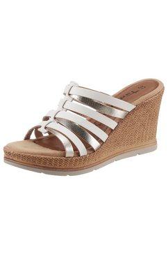 tamaris slippers slob met metallic-riempjes wit