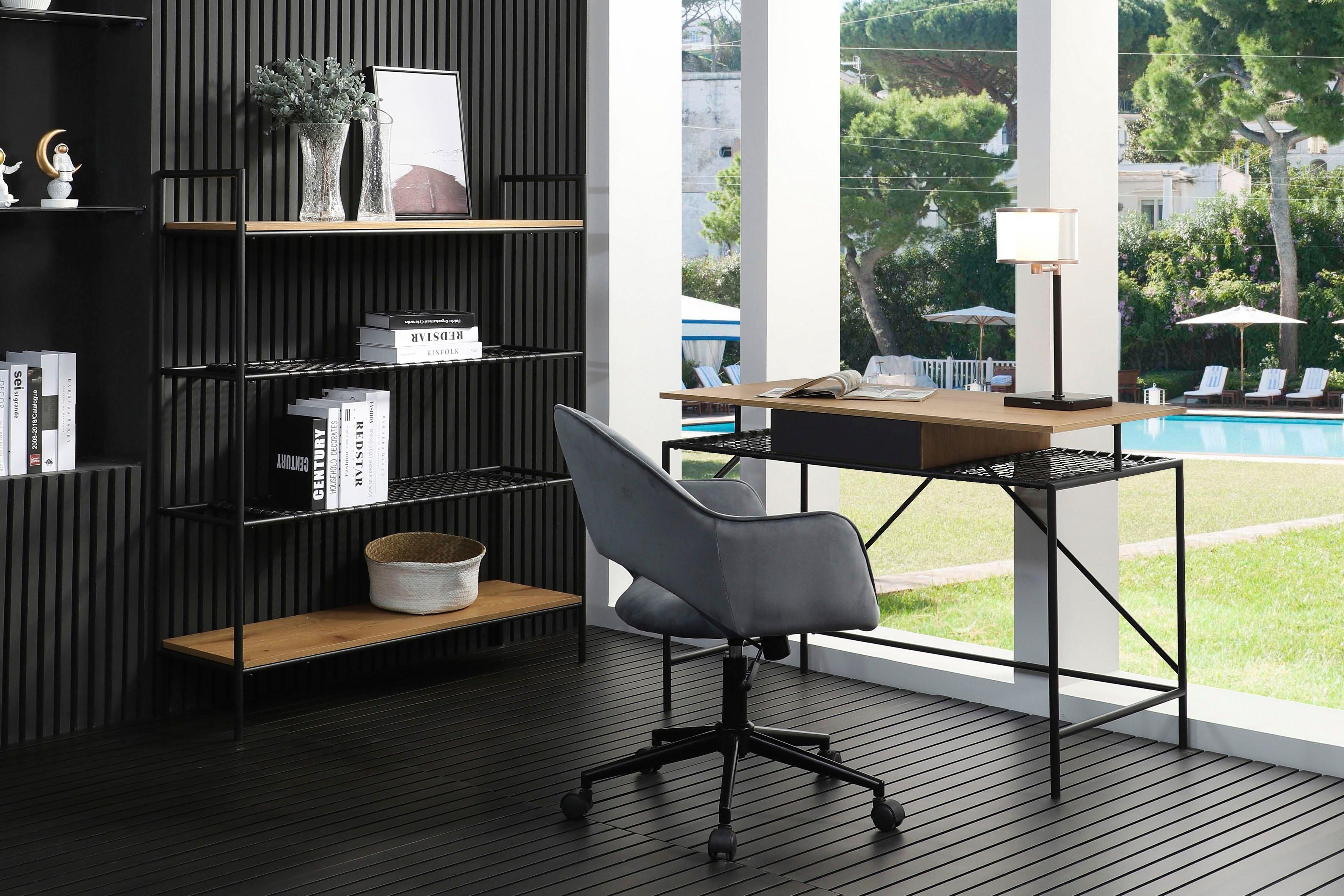 SalesFever bureau Legplank van metalen frame en matzwarte polyrotan in gevlochten look online kopen op otto.nl