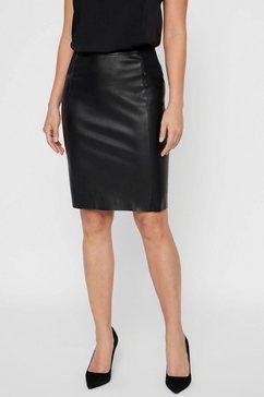 vero moda imitatieleren rok vmbuttersia hw coated skirt zwart