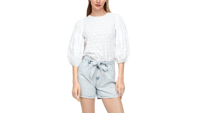 s.Oliver kanten blouse met wijde pofmouwen