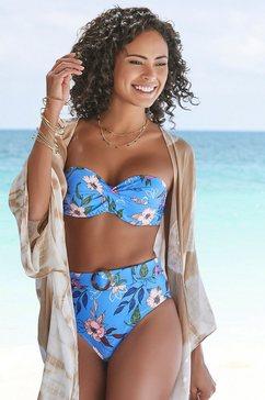 s.oliver red label beachwear highwaist-bikinibroekje maya met een afneembare riem en gesp in hoorn-look blauw