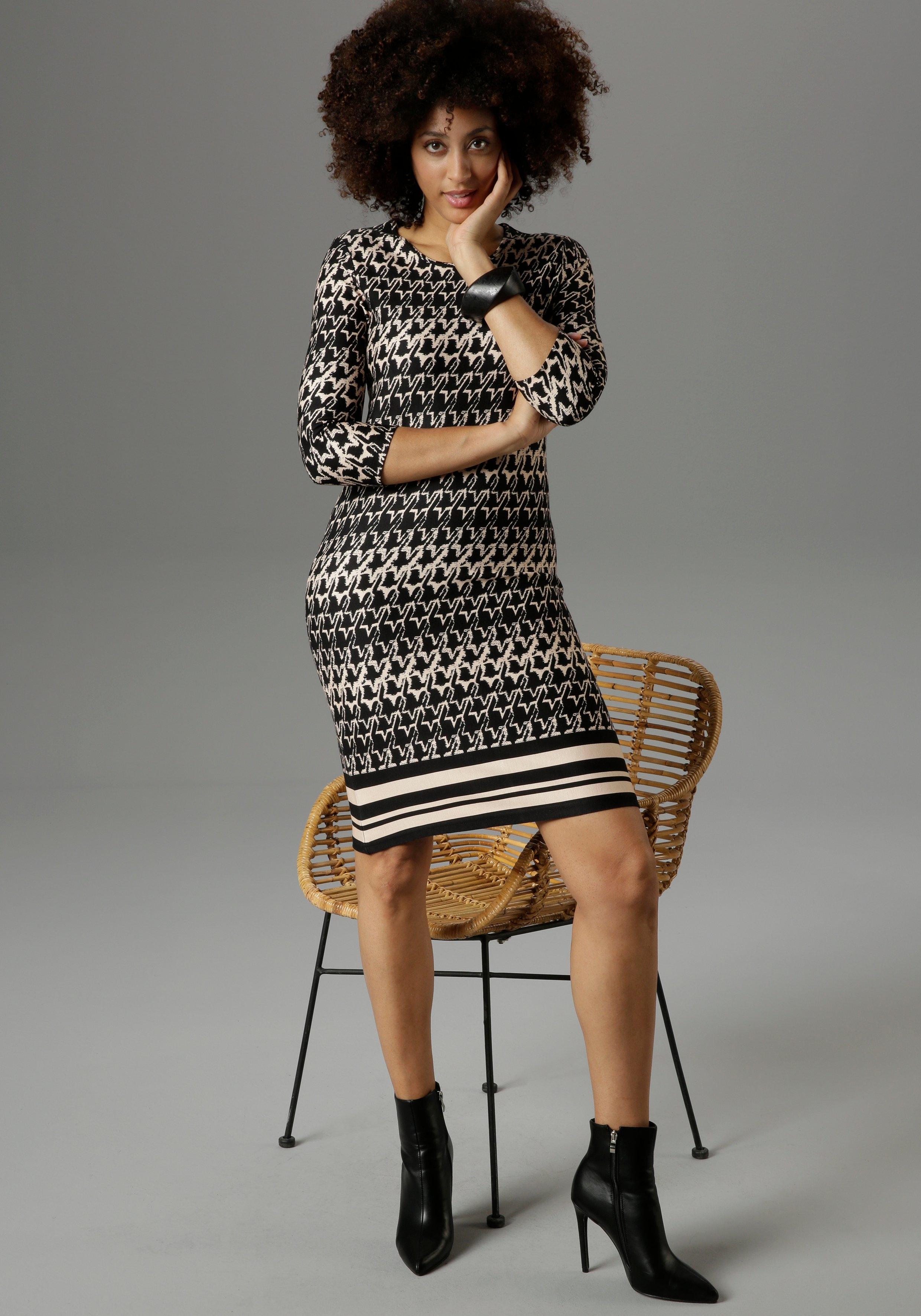 Aniston SELECTED jerseyjurk Pied-de-poulemotief met gestreept randdessin - NIEUWE COLLECTIE - verschillende betaalmethodes