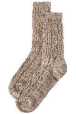 lusana folklore-sokken voor heren met breimotief beige