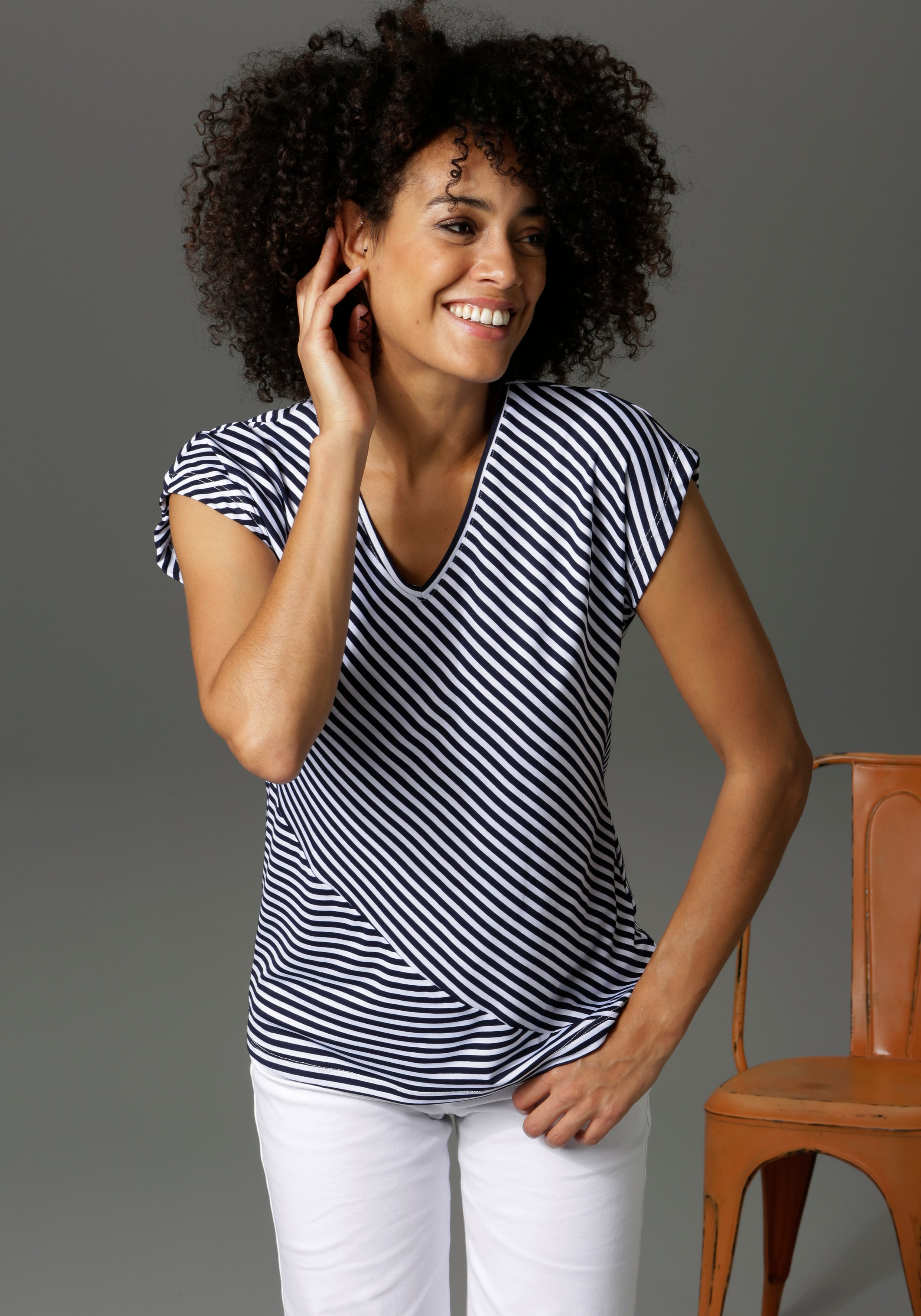 Aniston CASUAL T-shirt in strepenmix - online kopen op otto.nl