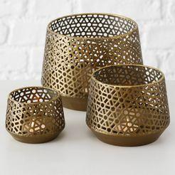 boltze windlicht topaas gemaakt van ijzer (set, 3 stuks) goud