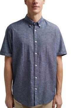edc by esprit overhemd met korte mouwen in chambray-look blauw