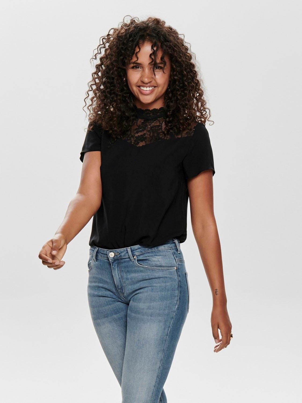 Only kanten blouse ONLFIRST met opstaande kraag - gratis ruilen op otto.nl