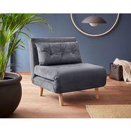 my home slaapbank met uittrekbare metalen steunpoten, slaapfauteuil in 2 afm. te bestellen, modern logeerbed grijs