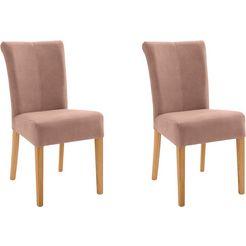 stoel barcelona (set van 2), stoelpoten van massief hout en bekleding van microvezel (set, 2 stuks) bruin