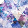 artland artprint driehoeken in vele afmetingen  productsoorten - artprint van aluminium - artprint voor buiten, artprint op linnen, poster, muursticker - wandfolie ook geschikt voor de badkamer (1 stuk) paars