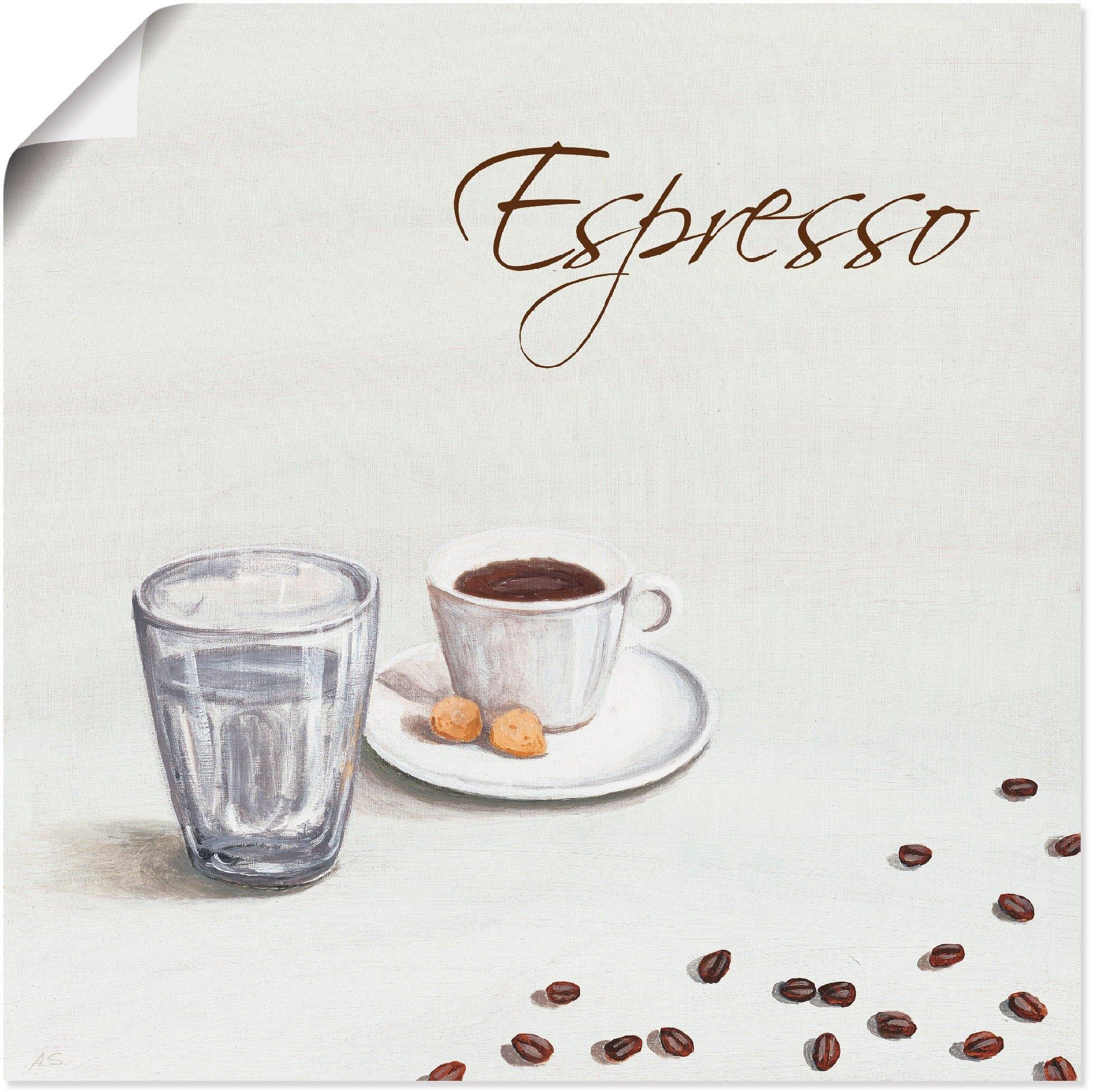 Artland artprint Espresso III in vele afmetingen & productsoorten - artprint van aluminium / artprint voor buiten, artprint op linnen, poster, muursticker / wandfolie ook geschikt voor de badkamer (1 stuk) - verschillende betaalmethodes