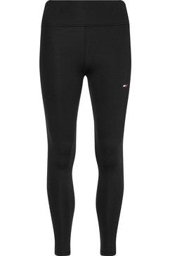 tommy sport 7-8-legging met tommy hilfiger-merklabel op op de linkerpijp zwart