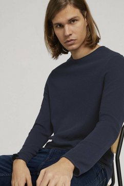 tom tailor denim gebreide trui gestructureerde trui blauw