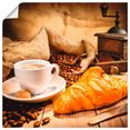 artland artprint koffiekopje met croissant in vele afmetingen  productsoorten -artprint op linnen, poster, muursticker - wandfolie ook geschikt voor de badkamer (1 stuk) bruin