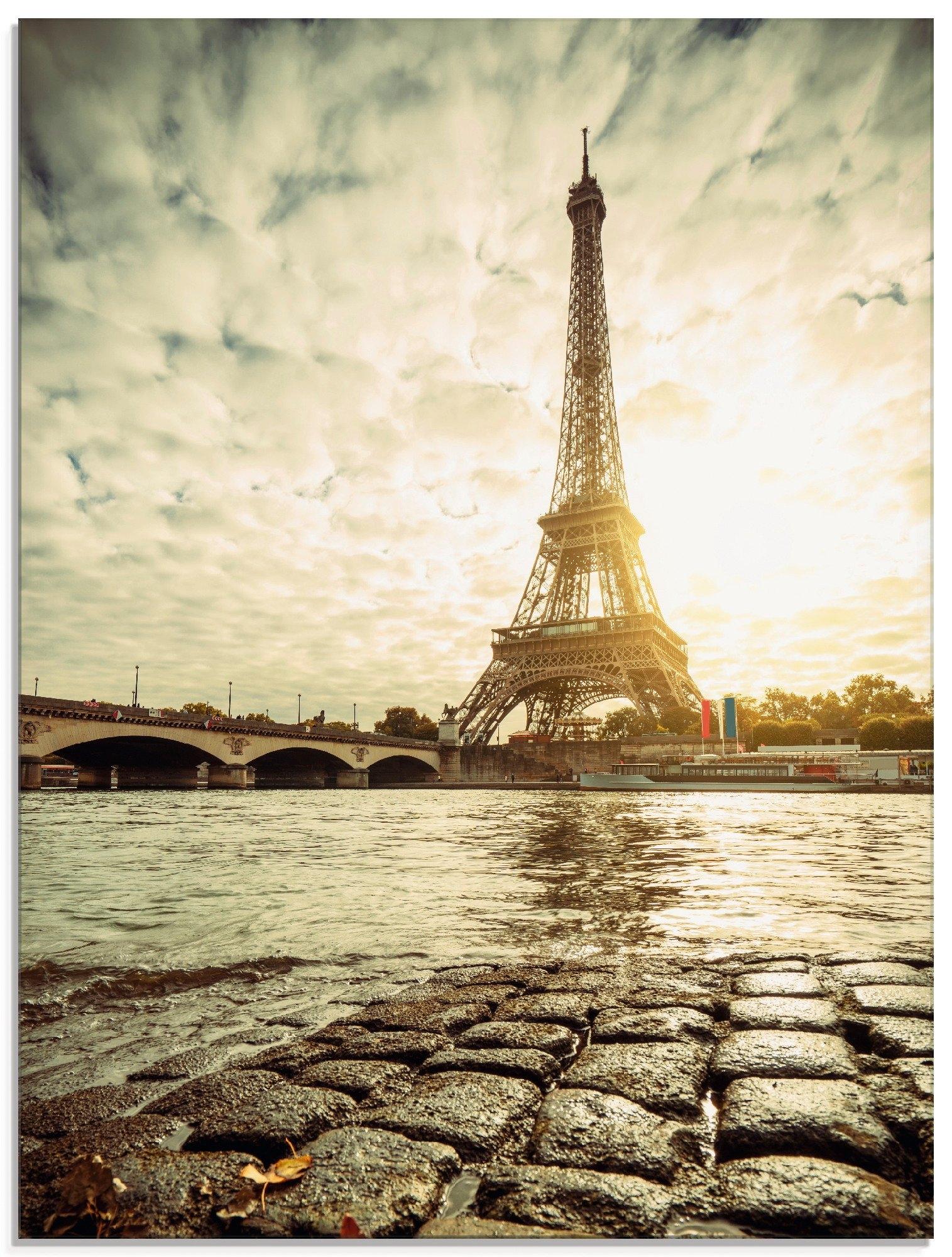 Artland print op glas »Paris Eiffelturm IV« online kopen op otto.nl