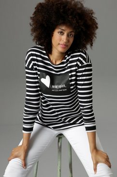 aniston selected shirt met lange mouwen zwart