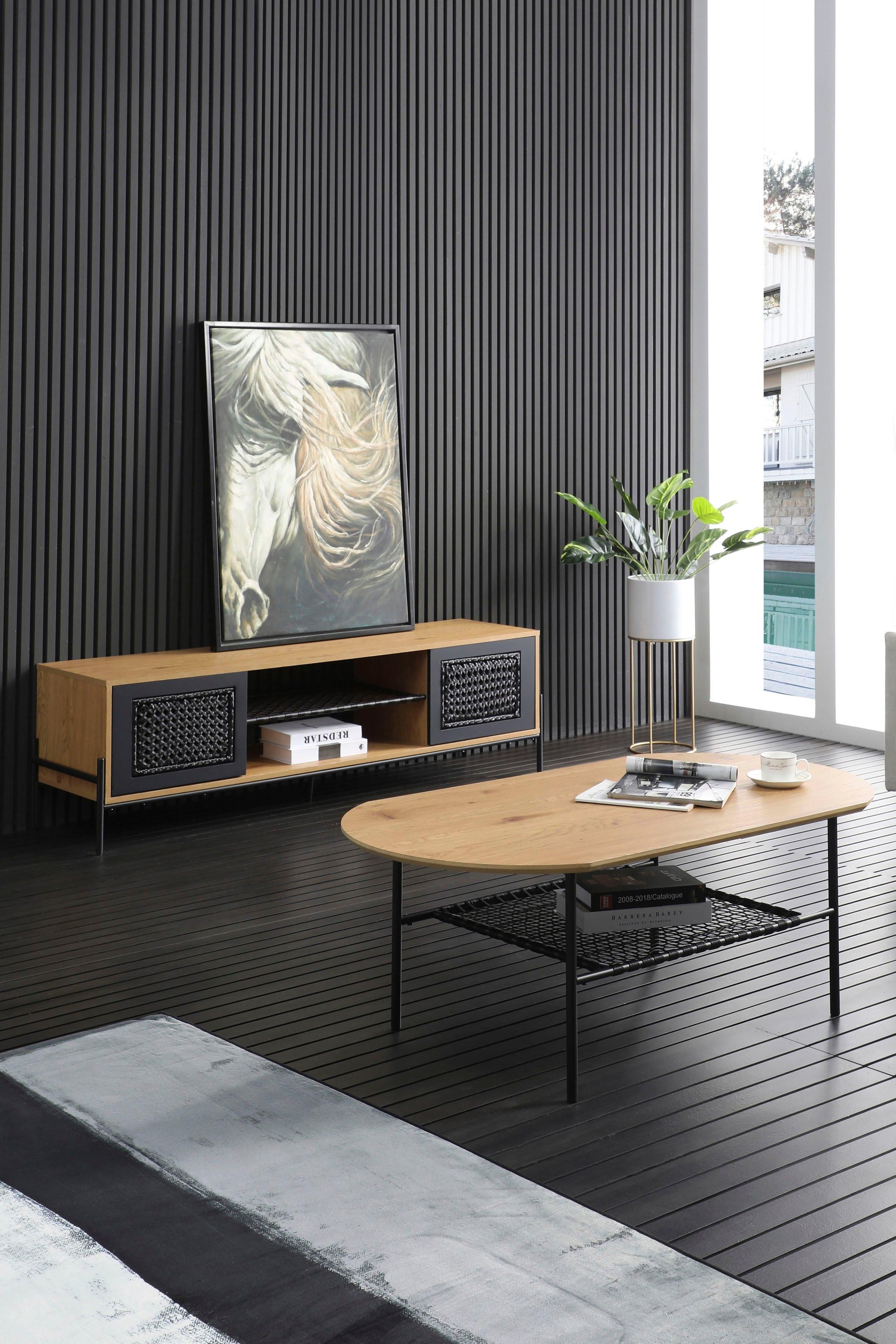 SalesFever tv-meubel Met matzwarte inzet van polyrotan, tv-tafel voordelig en veilig online kopen