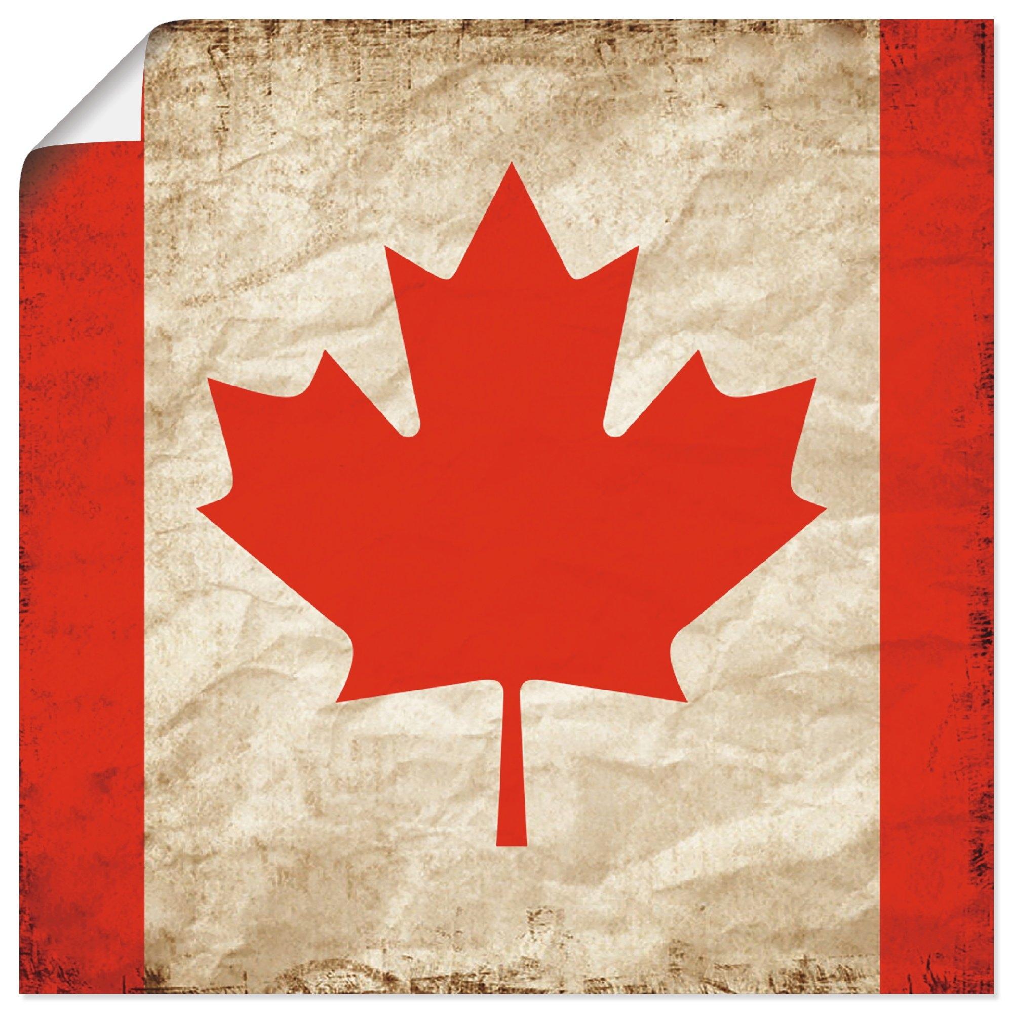 Artland artprint Mooie Canadese vlag in vintage-look in vele afmetingen & productsoorten - artprint van aluminium / artprint voor buiten, artprint op linnen, poster, muursticker / wandfolie ook geschikt voor de badkamer (1 stuk) - gratis ruilen op otto.nl