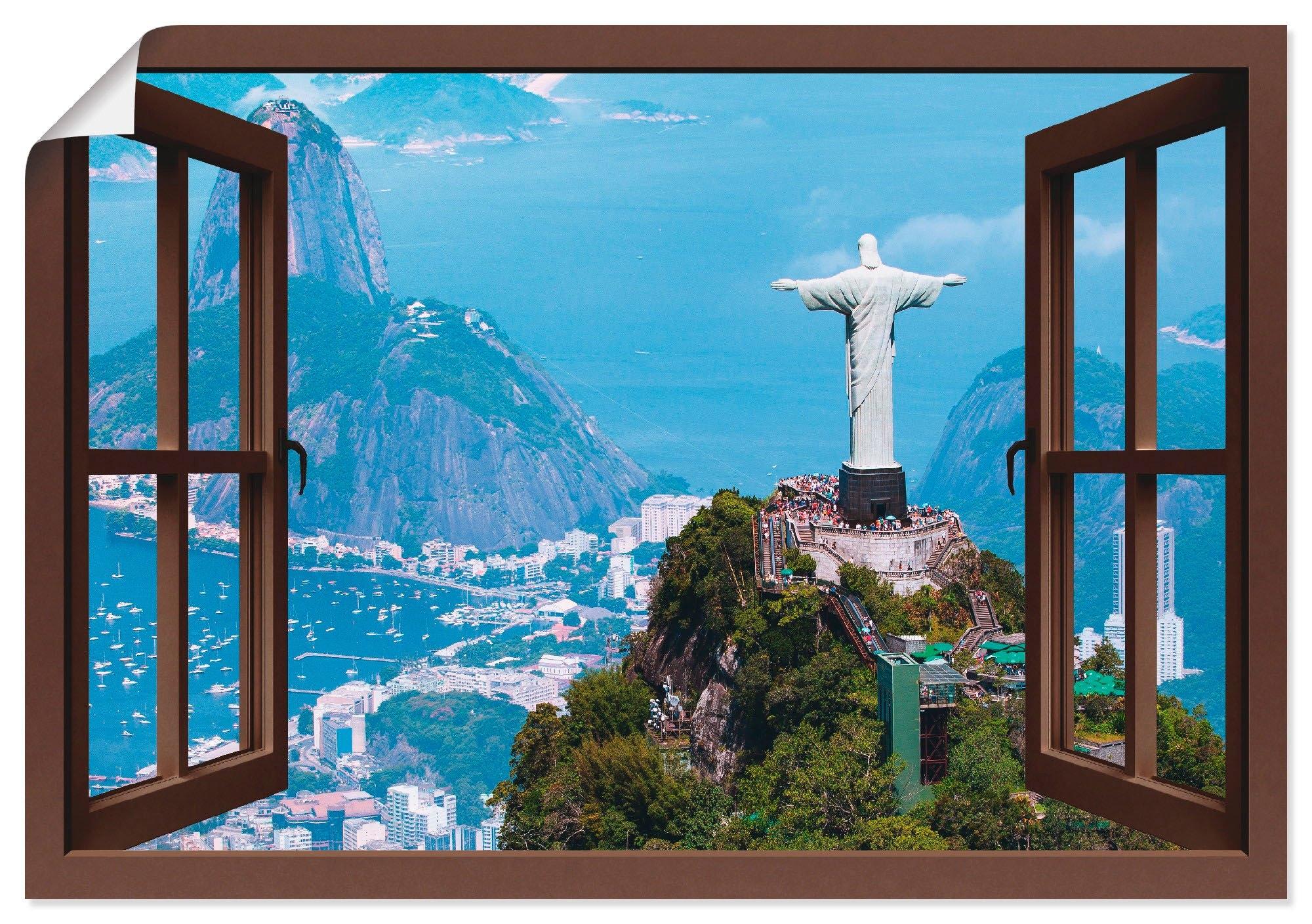 Artland Artprint Blik uit het venster Rio de Janeiro met Cristo in vele afmetingen & productsoorten - artprint van aluminium / artprint voor buiten, artprint op linnen, poster, muursticker / wandfolie ook geschikt voor de badkamer (1 stuk) bij OTTO online kopen