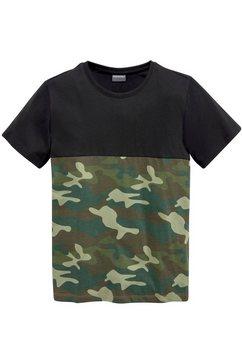 kidsworld t-shirt »tarnfarben mit dunkler passe« zwart