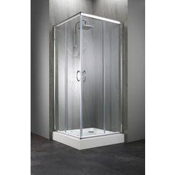 complete set: hoekdouchecabine »summer«, hoekdouchecabine, 90 x 90 cm, incl. douchebak zilver