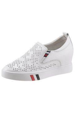 cosmos comfort sneakers met sleehak met stretchinzetten opzij wit