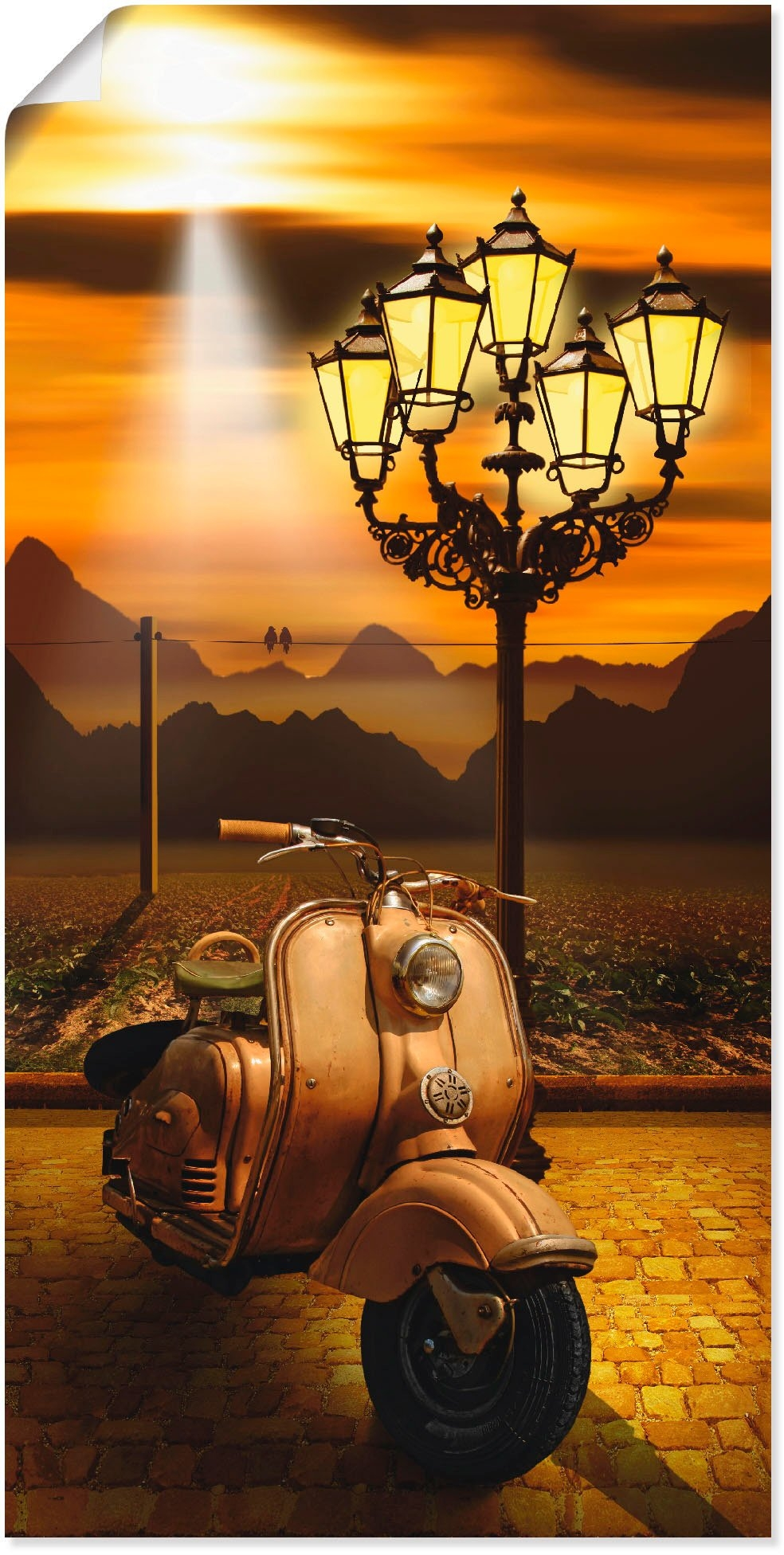 Artland artprint Oldtimer scooter romantisch in vele afmetingen & productsoorten -artprint op linnen, poster, muursticker / wandfolie ook geschikt voor de badkamer (1 stuk) nu online kopen bij OTTO
