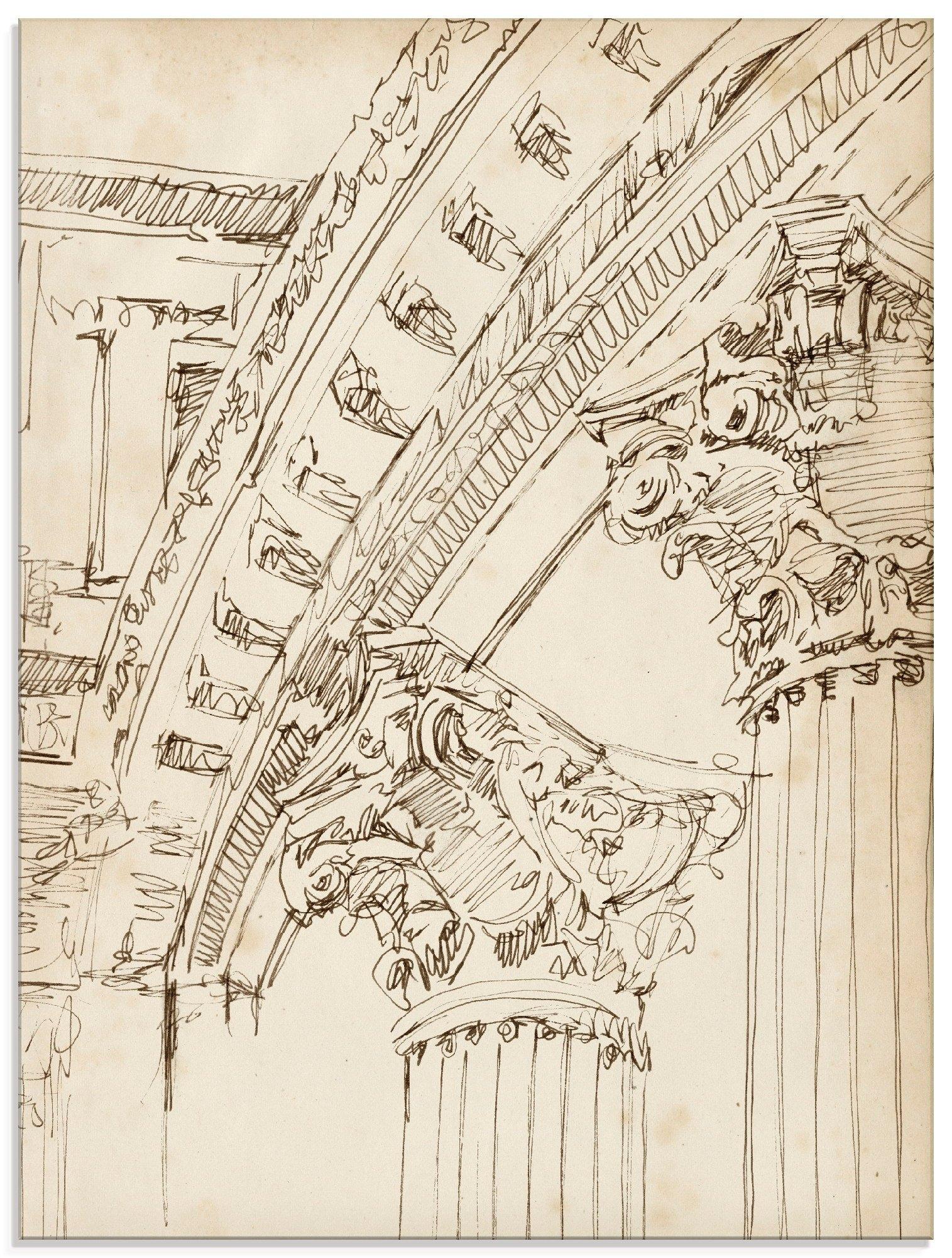 Artland print op glas Architectuur schetsboek IV (1 stuk) bij OTTO online kopen