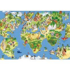 papermoon fotobehang »kids world map« multicolor