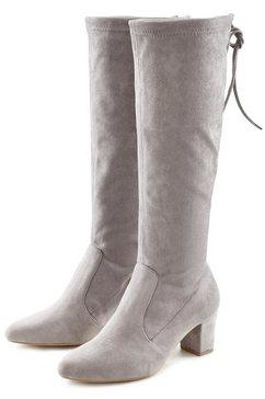 lascana laarzen met lange schacht en blokhak grijs