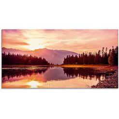 artland print op glas grand teton bergen bij zonsondergang (1 stuk) oranje
