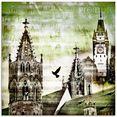 artland print op glas freiburg skyline abstracte collage (1 stuk) groen