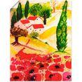 artland artprint zomer in de toscane in vele afmetingen  productsoorten -artprint op linnen, poster, muursticker - wandfolie ook geschikt voor de badkamer (1 stuk) rood
