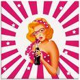 artland print op glas rockabilly pin-upgirl op strepen (1 stuk) roze