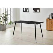 homexperts glazen tafel romeo breedte 140 cm, in marmerlook zwart