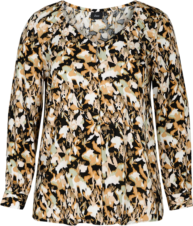 Zizzi klassieke blouse met goudkleurige knopen nu online bestellen