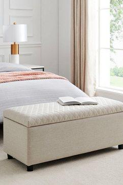 leonique slaapkamerbankje fabrice zitoppervlak doorgestikt, met opbergruimte beige